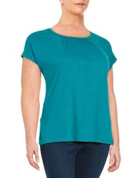 Lord And Taylor Plus Pleated Knit Tee Sweet Teal