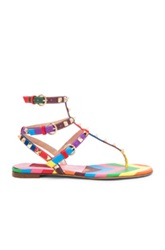Valentino 1973 Rockstud Gladiator Leather Sandals T.05 In Stripes Pink Yelow