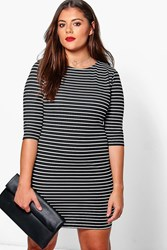 Boohoo Sally Stripe Bodycon Dress Navy