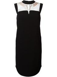 Mame Embroidered Lace Panel Dress Black