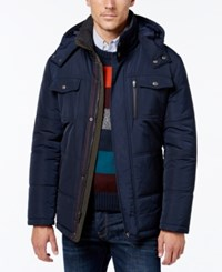 London Fog Men's Hooded Puffer Parka Navy