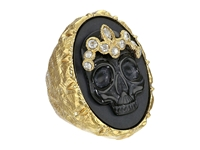Alexis Bittar Black Agate Skull Cameo W Crystal Studded Crown Ring