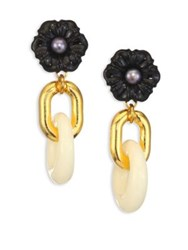 Lizzie Fortunato Black Dahlia Cultured Freshwater Pearl Drop Earrings Black Multi