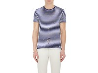 Barneys New York Men's Striped Distressed Cotton T Shirt Navy