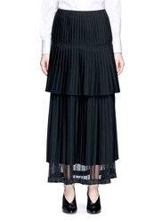Stella Mccartney Layered Pleat Wool Twill Maxi Skirt Black