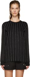 Opening Ceremony Black Metallic Pinstripe Sweater