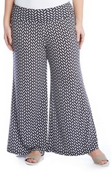 Plus Size Women's Karen Kane Geo Print Knit Palazzo Pants Black