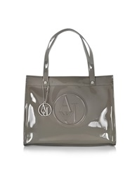 Armani Jeans Patent Eco Leather Tote Grey