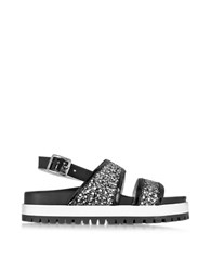 L'autre Chose Black Patent Leather Sandal W Glitter
