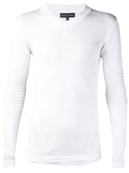 Built For Man Banded V Neck Sweater White