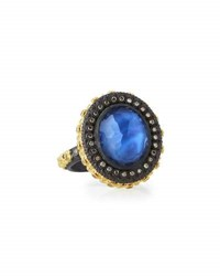 Armenta Old World Carved Sapphire Triplet Ring W Champagne Diamonds No Color