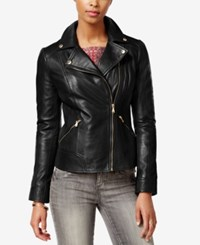 Guess Leather Moto Jacket Black