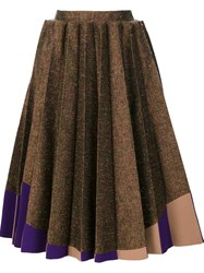 Delpozo Pleated Midi Skirt Brown
