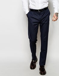 Sisley Slim Fit Mini Tartan Suit Trousers Navy Blue