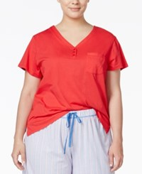Karen Neuburger Plus Size Short Sleeve Pajama Top Solid Red