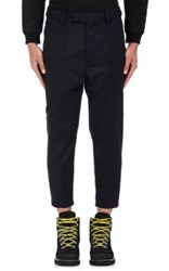 Oamc Men's Wool Crop Trousers Navy