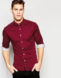Asos Skinny Polka Dot Shirt In Burgundy With Long Sleeves Red