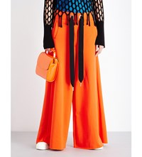 Marques Almeida Wide High Rise Cotton Blend Jogging Bottoms Orange
