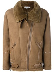 Iro 'Barrett' Shearling Jacket Nude And Neutrals