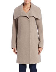 Anne Klein Oversized Collar Wool Blend Coat Taupe
