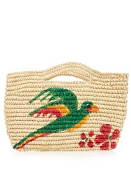 Sensi Studio Macaw Hand Painted Straw Mini Bag Beige Multi
