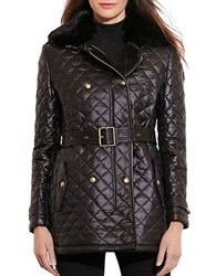 Lauren Ralph Lauren Quilted Faux Shearling Collar Fleece Lined Coat Black