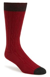 Men's Hook Albert Cable Knit Socks Red Red Twist