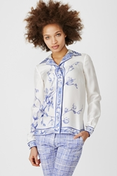 Veronique Branquinho Printed Silk Shirt Electric Blue