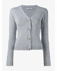 Miu Miu Cashmere And Silk Cardigan Grey