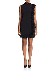 Nanette Lepore Feather Trimmed Cape Dress Black