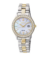 Seiko Ladies Two Tone Gold And Silver Round Crystal Bezel Watch