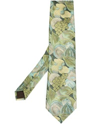 Moschino Vintage Woven Print Tie Green