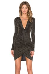 Becandbridge Black Sands Long Sleeve Dress Metallic Gold