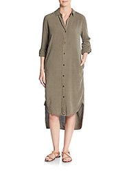 Saks Fifth Avenue Red Palm Long Shirtdress Caper