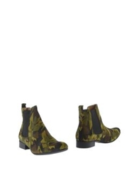 Ganni Ankle Boots Military Green