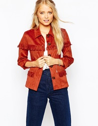 Sister Jane Tassel Jacket In Faux Suede With Tie Waist Rust