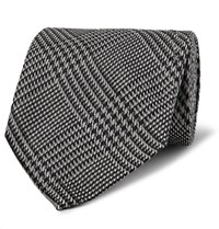 Tom Ford 8.5Cm Prince Of Wales Checked Silk Tie Charcoal
