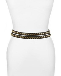 Burberry Studded Leather Wrap Belt Black