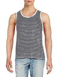 Ck Calvin Klein Washed Stripe Cotton Tank Asphalt
