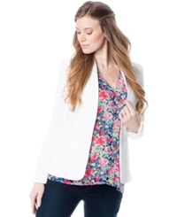 A Pea In The Pod Maternity Open Front Crepe Jacket White