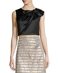Erin Fetherston Beau Twisted Bow Crop Top Black
