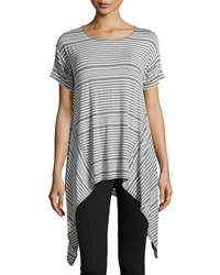Max Studio Striped Sharkbite Hem Scoop Neck Tee Heather Steel Heather Indigo