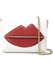 Sara Battaglia 'Lips' Cross Body Bag White