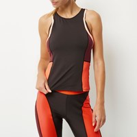 River Island Womens Ri Active Black Fitted Block Gym Vest