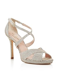 Kate Spade New York Frances Metallic Crisscross High Heel Sandals Silver Natural