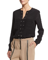 Belstaff Grommet Trim Tunic Blouse Black