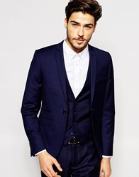 Vito Super Skinny Suit Jacket With Stretch Blue