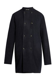 Denis Colomb Handwoven Cashmere Coat Navy