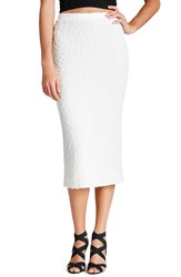 Dress The Population 'Natalie' Sequin Knit Midi Pencil Skirt Ivory