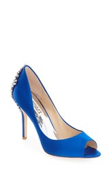 Badgley Mischka Women's 'Nilla' Peep Toe Pump Sapphire Satin